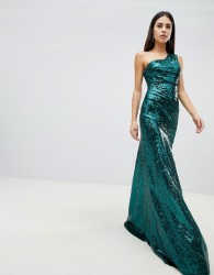 Goddiva one shoulder sequin maxi dress in emerald green - Green