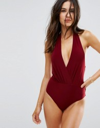 Goddiva Simple Wrap Over Swimsuit - Red