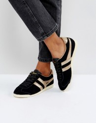 Gola Bullet Suede Trainers In Black With Gold Detail - Black