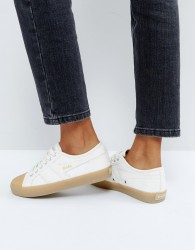 Gola Coaster Trainers In Off White With Gum Sole - White