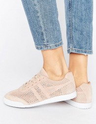 Gola Harrier Blush Pink Perforated Suede Trainers - Pink