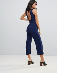 Goldie Chiffon Midi Length Jumpsuit With Frill Detail And Back Tie - Navy