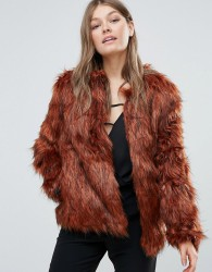 Goldie Faux Fur Jacket - Orange
