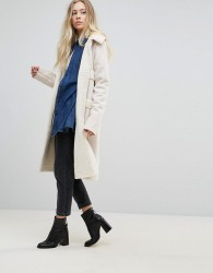 Goldie Firey Nights Faux Sheerling Long Coat With Front Pockets - Cream