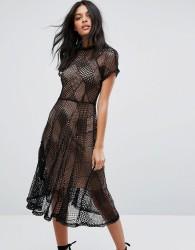 Goldie Flaired Diamond Shape Lace Midi Flair Dress With Separate Bias Cut Chiffon Slip Dress - Black