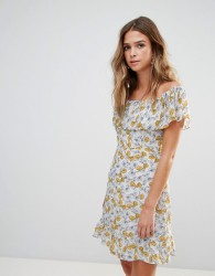 Goldie Floral Frilly Off Shoulder Dress - Multi