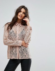 Goldie Hooked On You Rose Floral Lace Blouse - Pink