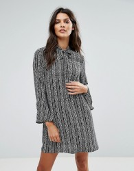Goldie Janey Striped Leaf Printed Shift Dress With Bell Sleeves And Neck Tie - Multi