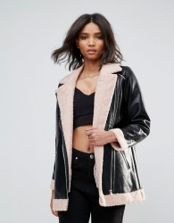 Goldie Phoenix Pu Aviator Style Jacket With Faux Fur Lining And Zipper Detail - Black