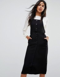 Goldie Plateau Over The Knee Pinafore Dress With Button Up Front - Black