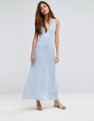 Goldie Riveria Ditsy Printed Maxi Dress With Low Neckline And Cross Straps At The Back - Multi