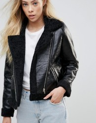 Goldie Rocky Faux Leather Cropped Jacket With Faux Fur Lining And Metal Zippers - Black
