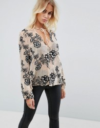 Goldie Still The One Embroidered Rose Sheer Blouse With Neck Tie - Cream