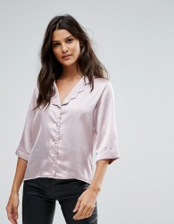 Goldie Wild Flower Satin Blouse With Scalloped Collar And 3/4 Sleeves - Pink