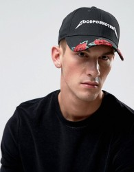 Good For Nothing Baseball Cap In Black With Embroidered Roses - Black