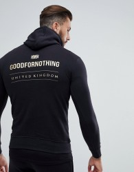 Good For Nothing Hoodie In Black With Gold Logo Back Print - Black