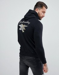 Good For Nothing Hoodie With Back Embroidery - Black