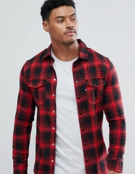 Good For Nothing Muscle Shirt In Red Check - Red