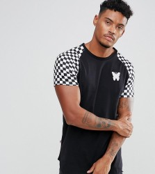 Good For Nothing Muscle T-Shirt In Black With Checkerboard Sleeves Exclusive To ASOS - Black