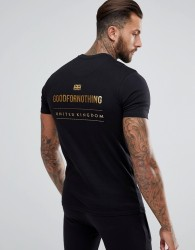 Good For Nothing Muscle T-Shirt In Black With Gold Logo Back Print - Black