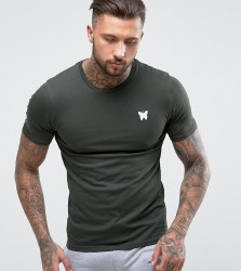 Good For Nothing Muscle T-Shirt In Khaki with Chest Logo - Green