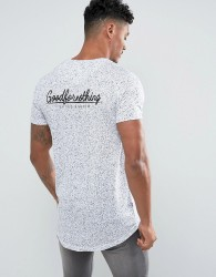 Good For Nothing Muscle T-Shirt In White Speckle With Back Print - White