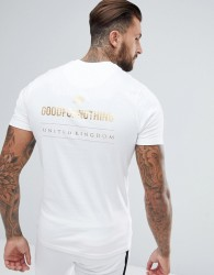 Good For Nothing Muscle T-Shirt In White With Gold Logo Back Print - White
