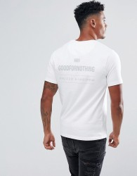 Good For Nothing Muscle T-Shirt In White With Reflective Back Print - White