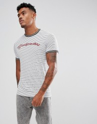 Good For Nothing Muscle T-Shirt With Stripes And Logo - White