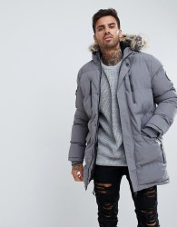 Good For Nothing Parka In Grey With Faux Fur Hood - Grey