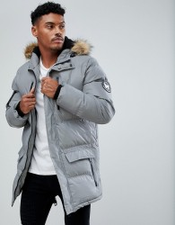 Good For Nothing Parka In Reflective With Faux Fur Hood - Grey