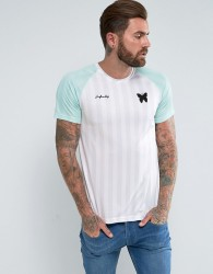 Good For Nothing Poly T-Shirt In White Stripe - White