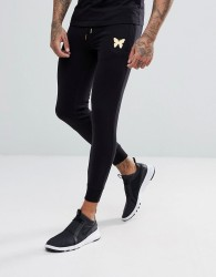 Good For Nothing Skinny Joggers In Black With Gold Logo - Black