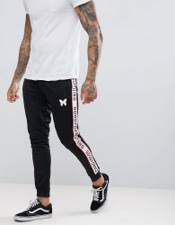 Good For Nothing Skinny Joggers In Black With Logo Side Stripes - Navy