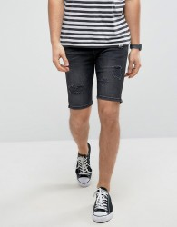 Good For Nothing Super Skinny Denim Shorts In Black With Distressing - Black