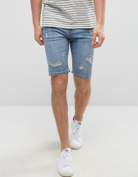Good For Nothing Super Skinny Denim Shorts In Blue With Distressing - Blue