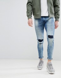 Good For Nothing Super Skinny Jeans With Knee Repaired Rips - Blue