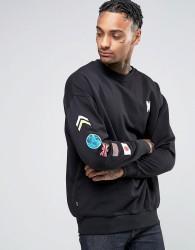 Good For Nothing Sweatshirt With Sleeve Print - Black