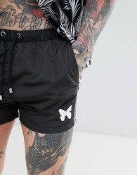 Good For Nothing swim shorts in black with side stripe - Black