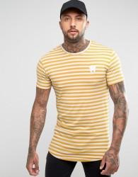 Good For Nothing T-Shirt In Mustard Stripe - White