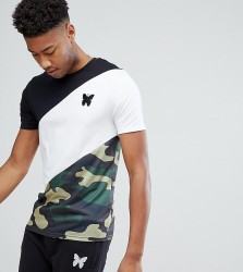 Good For Nothing TALL Muscle T-Shirt With Camo Panel Exclusive To ASOS - Black