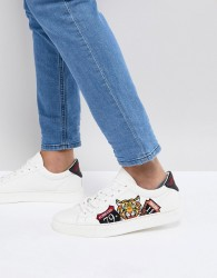 Good For Nothing Trainers In White With Tiger Embroidery - White