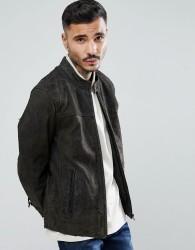Goosecraft Austin Distressed Leather Jacket in Grey - Brown