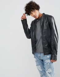 Goosecraft Clean Leather Biker Jacket in Black - Black