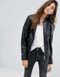 Goosecraft Collarless Leather Jacket with Diamond Quilt Detail - Black