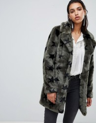 Goosecraft faux fur jacket with stars - Green