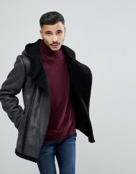 Goosecraft Faux Sheepskin Jacket in Black - Black