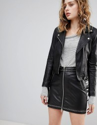 Goosecraft Festival Leather Mini Skirt with Zip and Stud Detail - Black