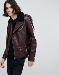 Goosecraft Idaho Leather Biker Jacket with Detatchable Collar in Redwood - Red