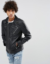 Goosecraft Leather Biker Jacket in Black with Chest Pocket - Black